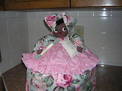 ~~TOASTER COVER DOLL~~2 slice toaster~~Black Americana Mammy~~Roses~~~
