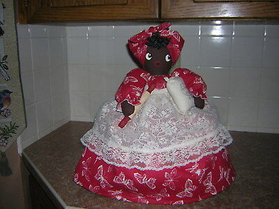 ~~TOASTER COVER DOLL~~2 slice toaster~~Black Americana Mammy~~Vintage Lace Apron