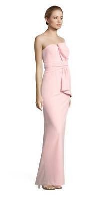 Adrianna Papell White Knit Crepe Strapless Bow Front Gown NWT Pink Shell sz 16