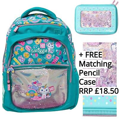 NEW SMIGGLE Shimmy Shake Backpack Bag + FREE Matching BNWT Hardtop Pencil Case
