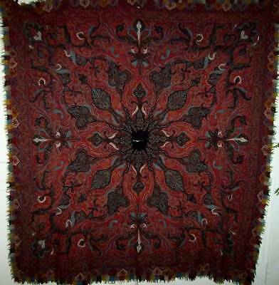 ANTIQUE Paisley WOVEN Wool Shawl Throw 72 x 72 Civil war era 1800's