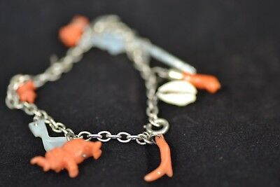 Victorian Natural Red Coral Charm Bracelet On Unmarked White Metal Chain