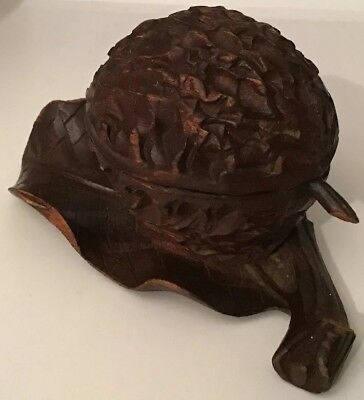 Antique/Vintage Black Forest Carved Walnut Shaped Ink Well Treen (02305)