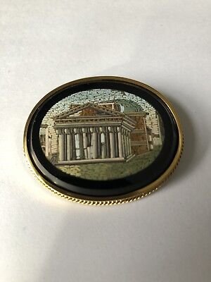 "Antique Victorian Micro Mosaic Oval Brooch ""The Pantheon"" 14K Yellow gold"