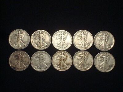 Walking Liberty Half Dollars 1/2 Roll Lot Of 10  $5 Face Value  90% Silver L1