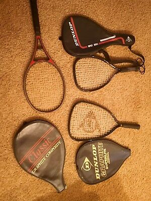 Vintage Retro 90's Tennis Racket Racquet joblot of 3 with covers