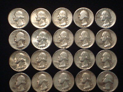 Washington Quarters $5 Face Value Lot Of (20) Coins 1/2 Roll 90% Silver L2