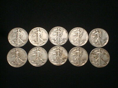 Walking Liberty Half Dollars 1/2 Roll Lot Of 10  $5 Face Value  90% Silver L4