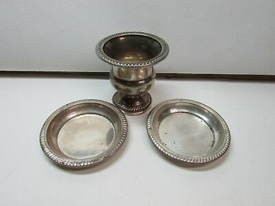 Antique Sterling Silver Cigarette Holder 2 Personal Ashtrays Hallmarked STERLING