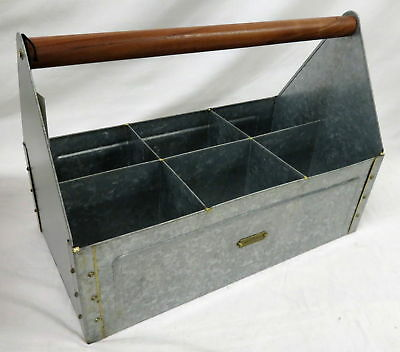 NEW Hearth & Hand with Magnolia Galvanized Metal Wood Handled Garden Caddy #6