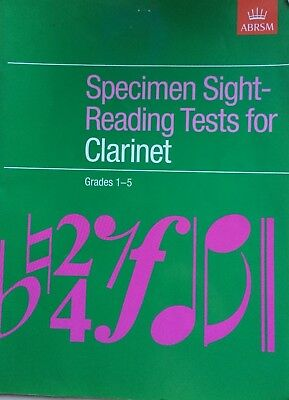 SIGHT-READING TESTS for CLARINET, Grades 1-5, ABRSM **VGC** practice tests