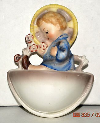 1962-70 Hummel Wall Mount Holy Water Font Boy Toddler in Blue with Flowers