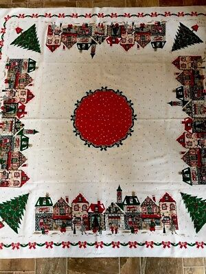 "Vintage Christmas Tablecloth People In Town Shopping 54"" × 52"""