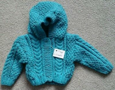 Brand New Hand Knitted Child's Hooded Aran Cardigan Age 6 - 12 Months