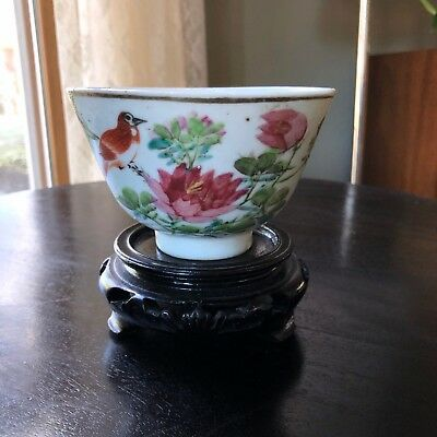 Antique Chinese Porcelain OLD Mark Signed Cup Bowl Dish Bird Flowers Painted
