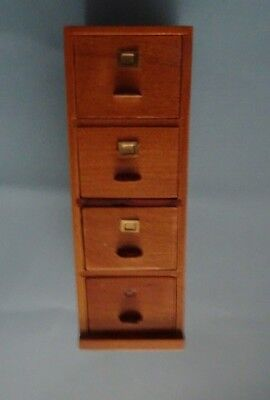 Dollhouse Miniature 4 Drawer File Cabinet MahoganyTown Square T3561A1//12th Scale