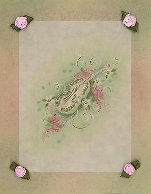 Vintage White Gold Guitar Pink Roses Aesthetic Art Collage Picture Antique Paper