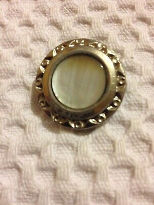 Vintage Mother of Pearl Button With Metal Surround