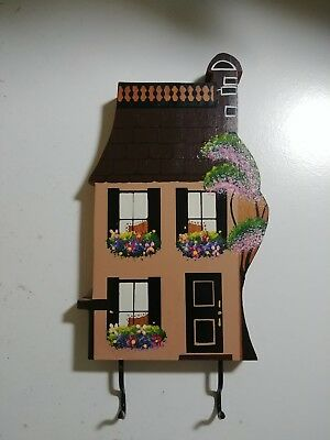 1985 Shelia's Signed Vintage Ledge Shelf Sitter Key Holder 2 Story House Flowers