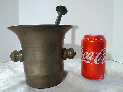 Antique Solid Brass Mortar and Pestle - Apothecary - Heavy, Original