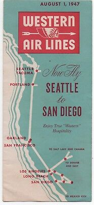 1947 Western Airlines Timetable Brochure Seattle to San Diego