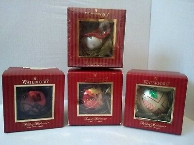 Set of 4 Waterford Holiday Heirlooms Ball Ornaments