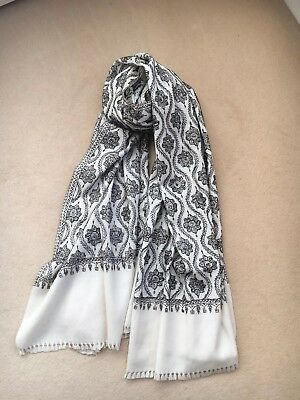 Authentic Kasmiri Pashmina Cream With Black And Brown Embroidery New