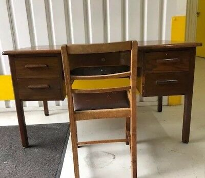 Vintage C1950's Mid Century Abbess Oak 4 Drawer School Teachers Desk With Chair