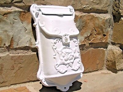 White Cast Iron Victorian style mailbox, suggestion box, Reproduction