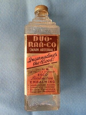 "Vintage Esco ""Duo-Raa-Co"" #2 Main Arterial Glass Pyramid Embalming Fluid Bottle"