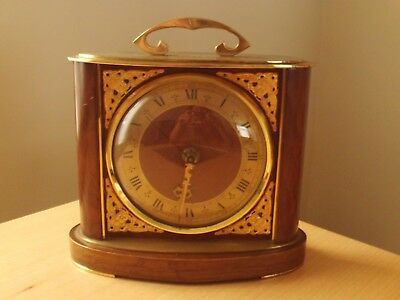 St James London Brass & Wood Mantel Clock ~ Working.