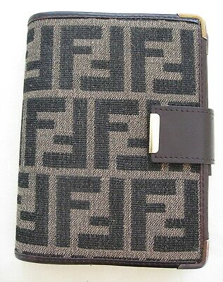Vintage Fendi Address Book Notebook  Monogram Holder  1970's Small