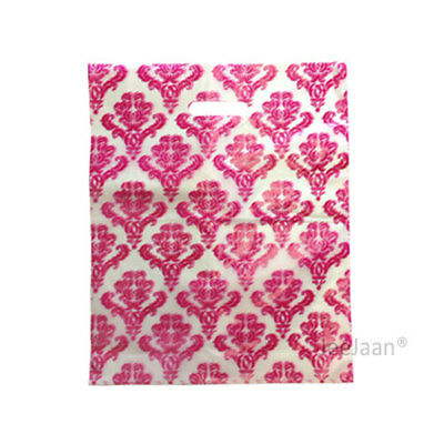 """100 Damask Pink Plastic Carrier Bags 15""""x18""""+3"""" Gift Party Carry Patch Handle"""