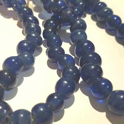 NOS 81 RARE ROUND GORGEOUS OLD 11 mm COBALT RUSSIAN BLUE/TEAL ANTIQUE BEADS