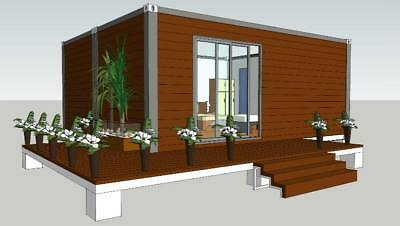 Container house mobile house 30sqm with terrace turn-key WPC cladding
