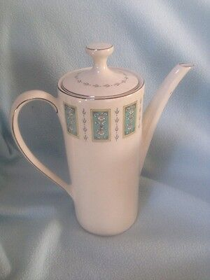 Vintage Myott Concorde Pattern Pottery Coffee Pot Blue White Yellow