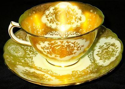 Hammersley & Co Antique Scarce Fancy Gold Chintz Flowers Bone China Cup & Saucer