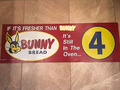 "Vintage Bunny Bread Grocery Store Aisle Marker Gas Oil Soda Pop 30"" Sign"