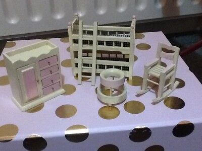 Dolls house Nursery Furniture Miniature Wooded Job Lot Bunk bed Rocking Chair