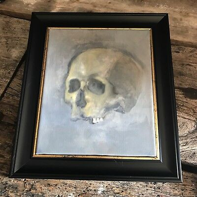 Antique Style Gothic Skull Oil Painting Framed Original Anatomy Anatomical
