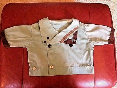 Vintage Antique Unisex SAILOR'S TOP Blue & Brown Size 2 Silk Blend GEORGEOUS