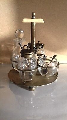 Beautiful Cut Glass & Silver Plate Cruet Set Salt Pepper Vinager Mustard Vintage