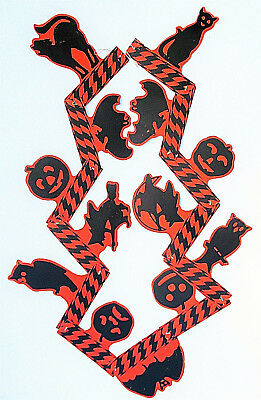 Vintage Beistle Halloween Jointed Banner  Black Cats/Owl/Witches/JOLs  1930's
