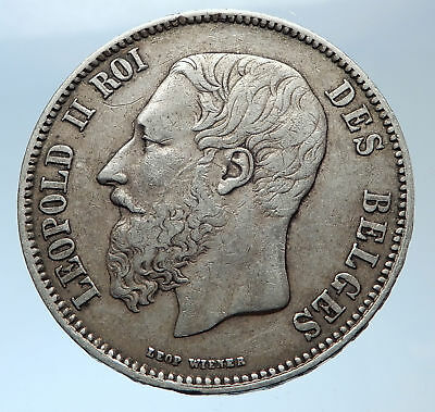 1869 BELGIUM Antique Silver 5 Francs Coin of King LEOPOLD II w LION i73972