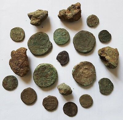 AGN - INTERESTING LOT of 20 ANCIENT ITALY ROMAN REPUBLIC &IMPERIAL BRONZE COINS