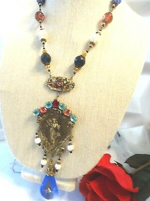 Vintage Art Deco CZECH  Multi-color Egyptian Revival Necklace- Goddess ~GORGEOUS
