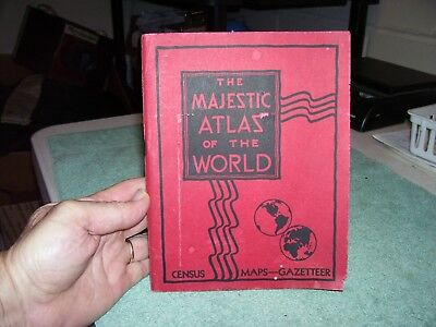 The Majestic Atlas Of The World*Softcover*Vintage 1933 Map Book*Census*Gazetteer