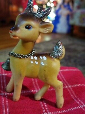 One Vintage Japan Soft Rubber Rudolph Reindeer Xmas Posable Head Figures w Bells