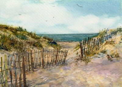 Linda Henry ORIG WATERCOLOR SEASCAPE Sand Dunes Beach Summer Cape May New Jersey