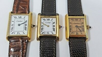 Lot of 3 Vintage Cartier SWISS 18K Gold Ladies Watches for Parts or Repair